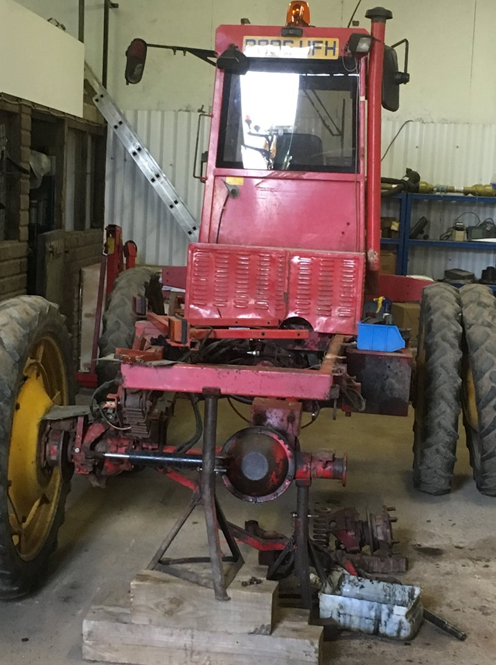 Repaired rear axle/brake assemblys on a Frazier 475D Agribuggy